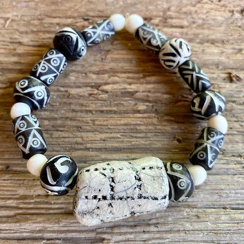 Black and White Raku and Bone Bead Bracelet