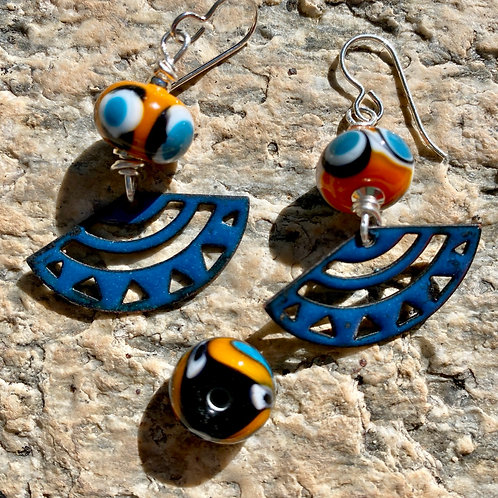 Shades of blue and orange glass earrings