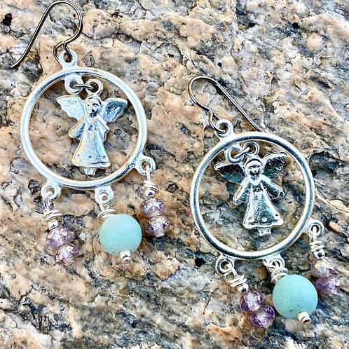 Silver Chandelier Earrings with Milagro Charms,