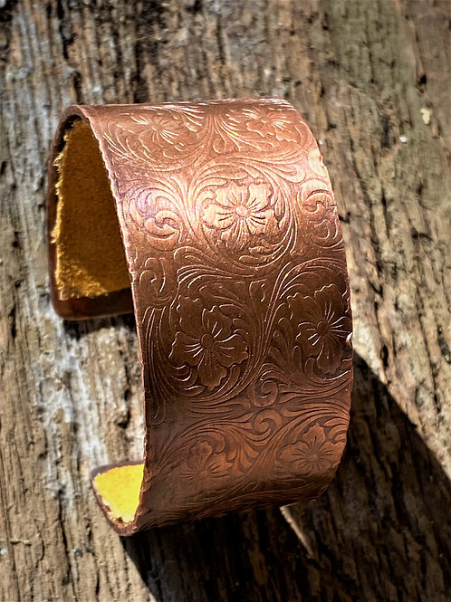Copper Cuff bracelet  floral embossed pattern