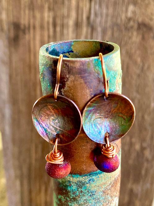 Textured copper, patina and raku earrings