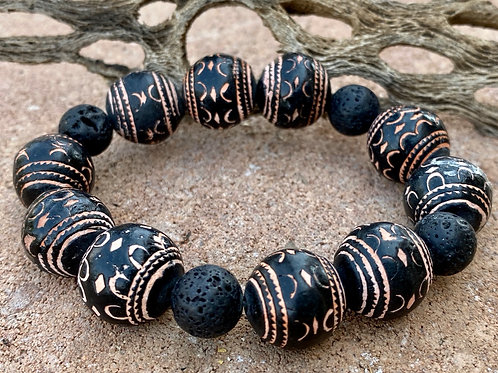 Clay and lava  Bead  Stretchy Bracelet