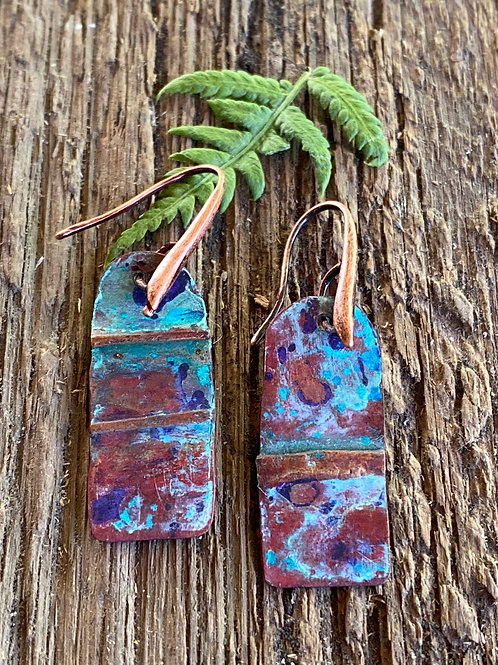 Fold formed copper Earrings with a unique patina