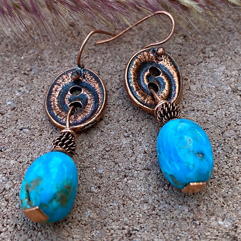 Copper Button Earrings with Arizona Turquoise