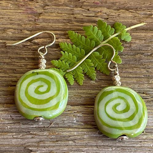Green Ceramic Swirls with Sterling Silver Earrings