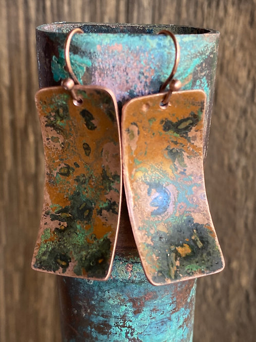 Copper Rectangle Earrings with Verde Green Patina