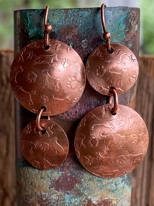 Dogs and Paws Copper Earrings