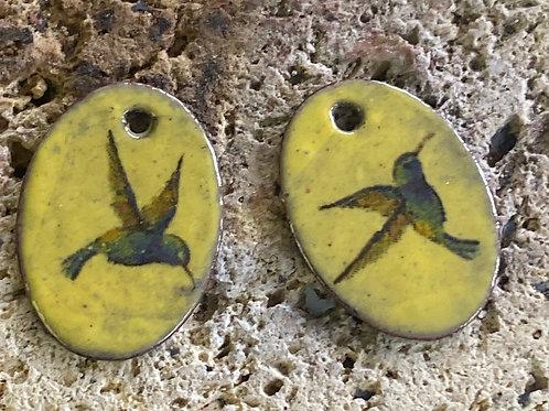 Hummingbird and Copper Enamel Earrings