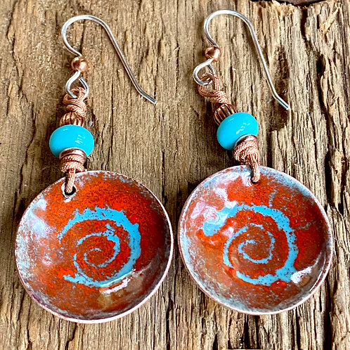 Drop and Dangle Earrings - Shades of Orange, Lilac and blue