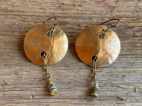 Subtly embossed pattern on brass disc earrings