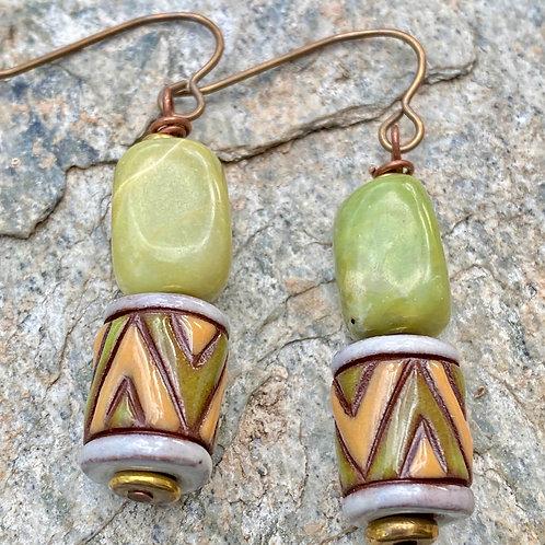 Green Serpentine and Ceramic Earrings
