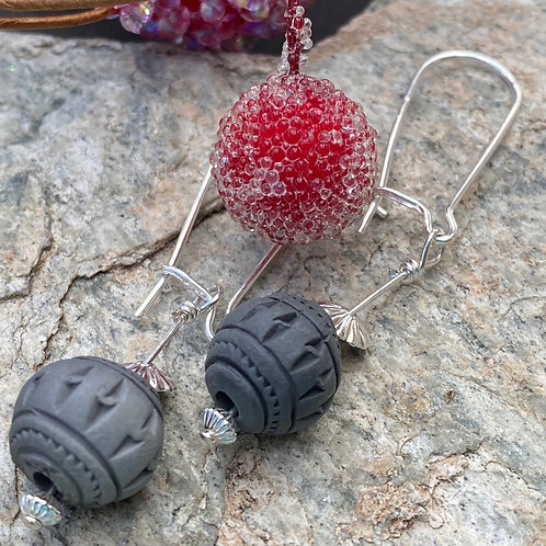Textured Black Clay Focal Beads with Sterling Ear Wires
