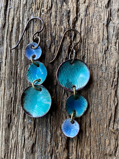 Organic textured copper  earrings with transparent enamel