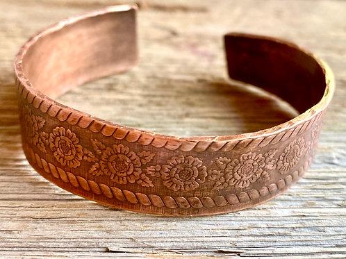 Embossed floral patterned  copper cuff bracelet