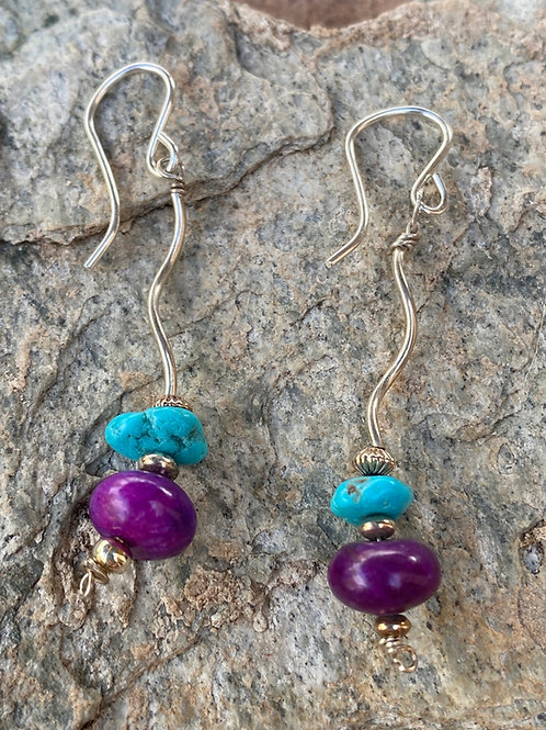 Sterling Silver, Turquoise and Sugalite Earrings