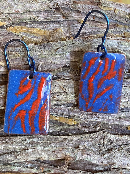 Dramatic enameled rectangle earrings  in blue and red