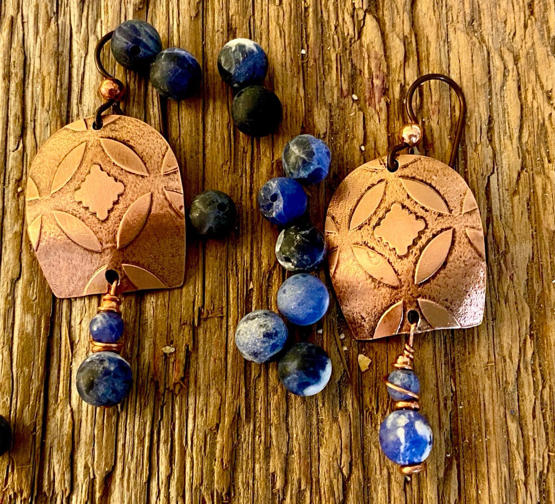 Open Hoop Earrings in Copper with Blue Sodalite Stone