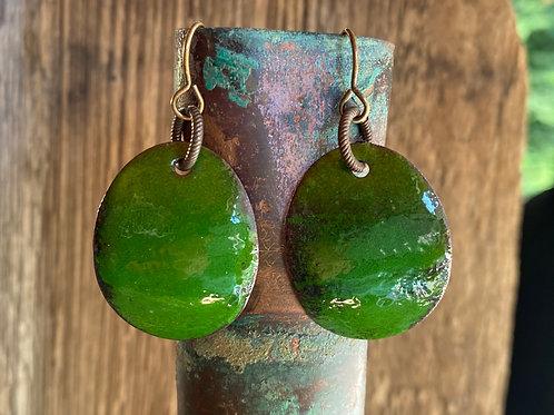 Jungle green enameled drop and dangle enameled earrings