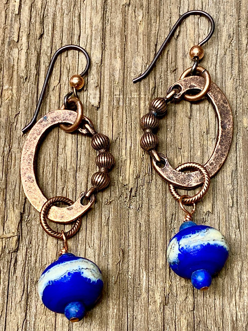 Copper and Cobalt Blue lampwork Glass Earrings