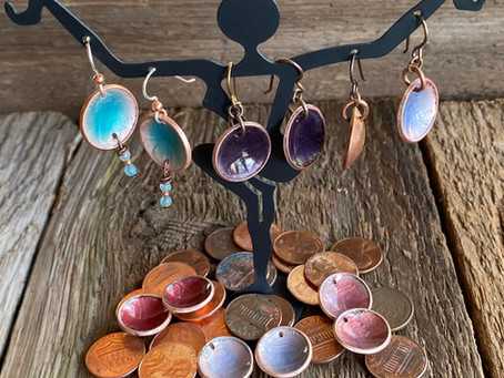 All about the flame! Copper enameled penny earrings!