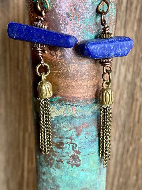 Lapis Lazuli and Brass Tassel drop earrings