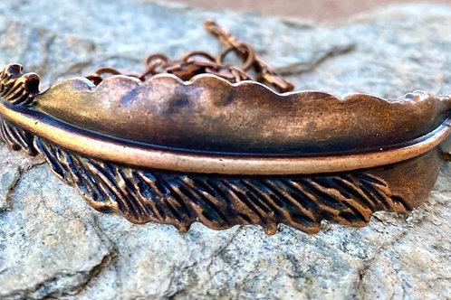 Antique Copper Feather Chain Bracelet