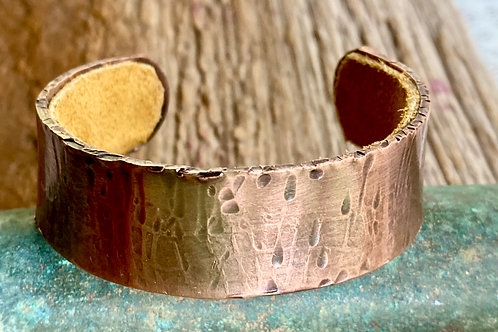 Copper Cuff Bracelet - Hammered Texture