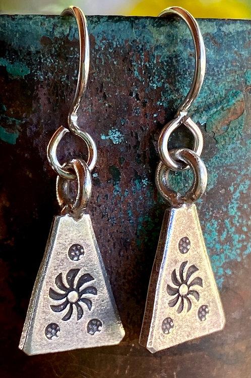 Bali Silver Metal Stamped Earrings
