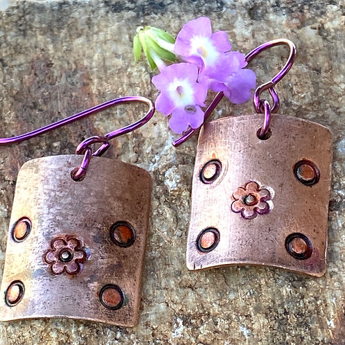 Copper Flower Power Earrings