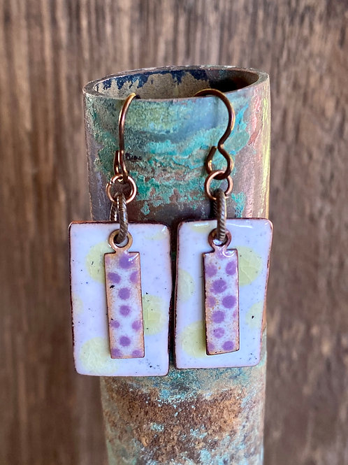 Polka Dots in white, purple and yellow enameled glass earrings