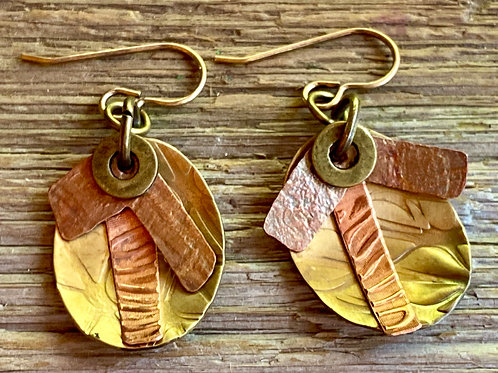 Textured Brass Oval earrings with Copper details