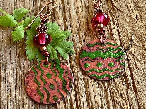 Copper enamel and transparent rose lamp-work glass earrings