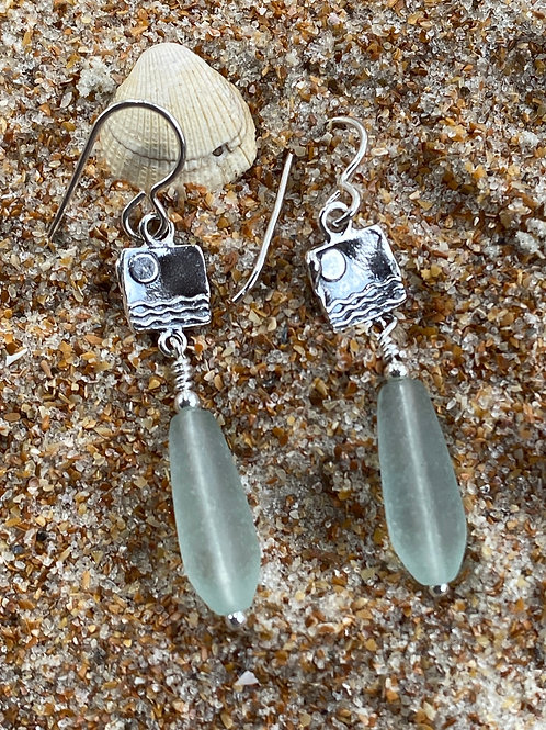 Sterling Silver Wave Charm Earrings with Seaglass