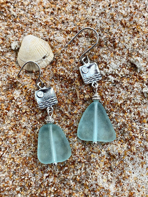 Sterling Silver Wave Charrms and Seafoam Green Seaglass Earrings