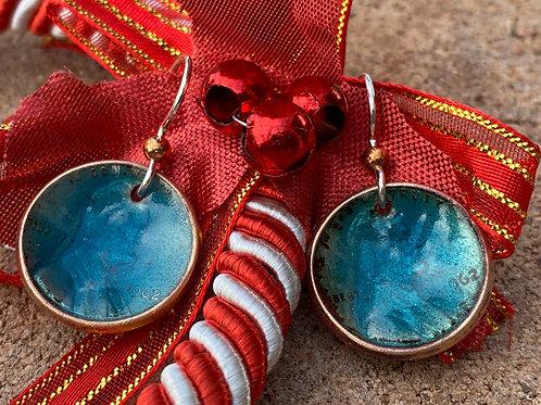 1962 Copper Enamel Penny Earrings