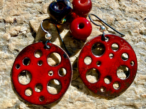 Red Enameling Glass Earrings