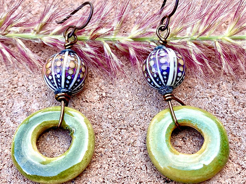 Mirage beads and green  ceramic earrings
