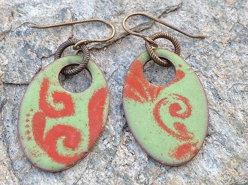 Copper Enamel Oval Earrings in a Sage Green and Flame Orange