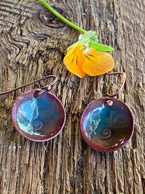 Metal Stamped Spiral Earrings with Transparent Enameling Glass