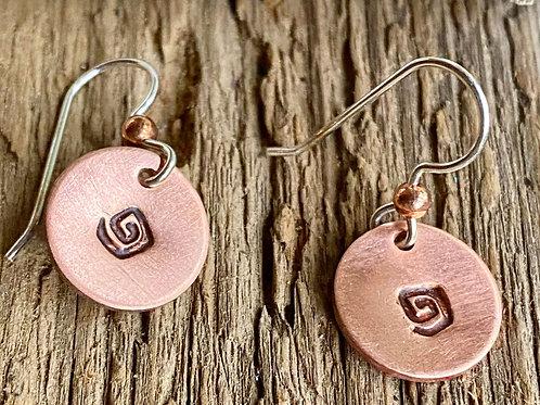 Petite Copper Disc Earrings