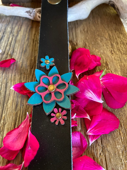 Leather, flowers and Rivet  Cuff Bracelet