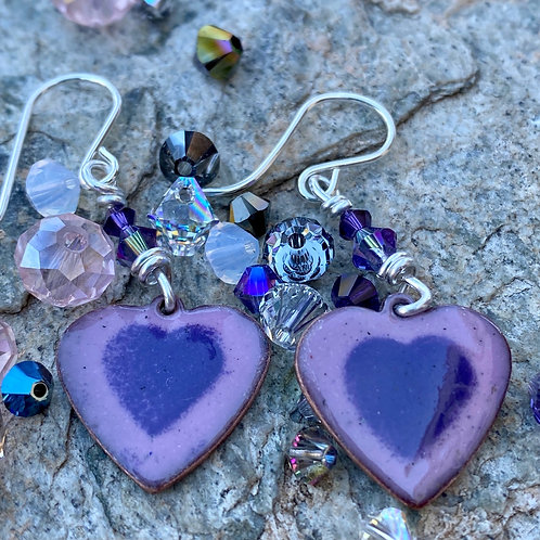 Heart and Swavorski Glass Earrings