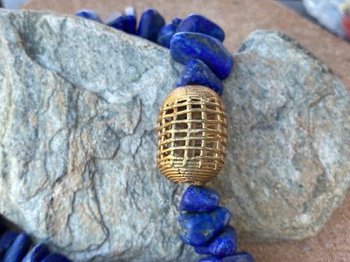 Lapis Lazuli  Cobalt Blue Necklace with Ghana Brass Pendant