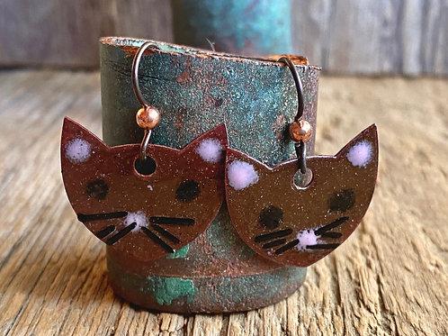 Copper Enameled Kitty Cat Earrings