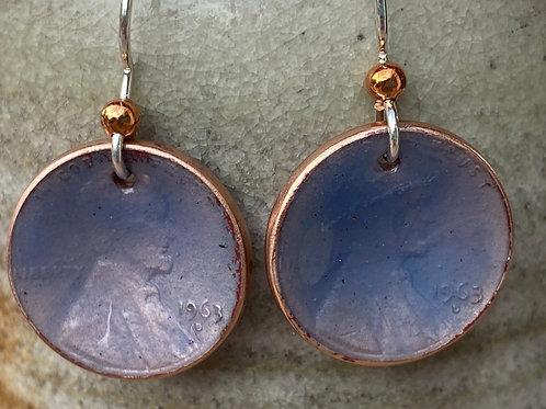 1963 Copper Penny Enamel Earrings