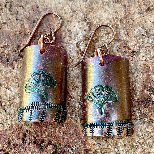 Copper Gingko Earrings