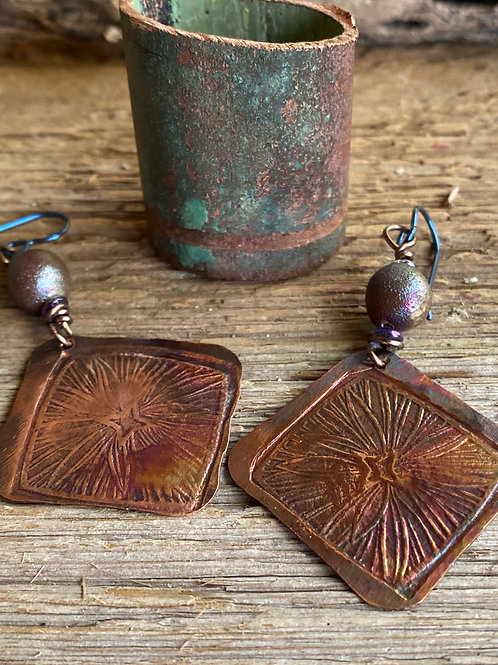 Textured copper with patina and raku bead earrings