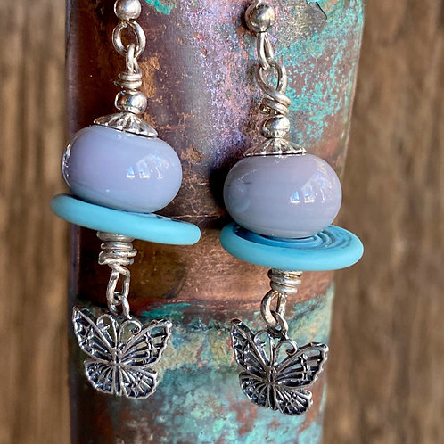 Sterling silver butterfly earrings with handmade lampwork glass.