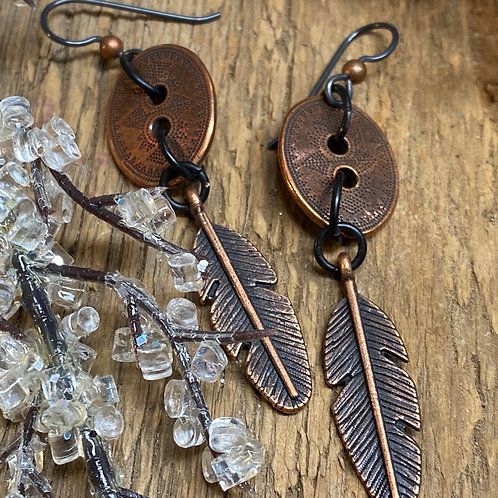 Repurposed button and feather Earrings