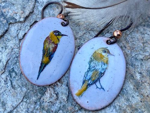 Songbird Copper Enamel Earrings